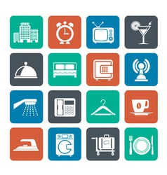 Silhouette Hotel and travel icons vector