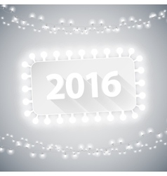 Simple Banner 2016 with Christmas Lights vector image