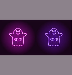 Soaring neon ghost in purple and violet color vector