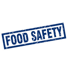 Square grunge blue food safety stamp vector