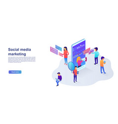 statistics and analytics landing page in vector image