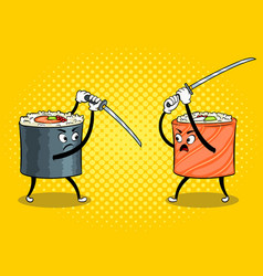 Sushi roll with japanese sword pop art vector