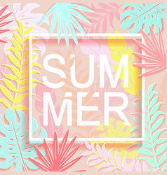 the word summer is surrounded by tropical leaves vector image