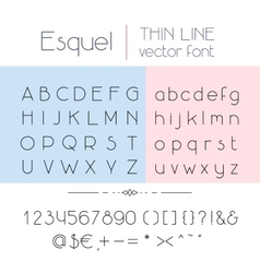 Thin line font vector image
