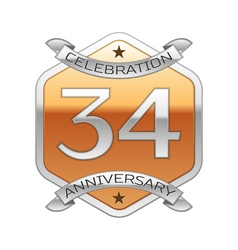 Thirty four years anniversary celebration silver vector image