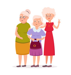 Three cute senior women friends standing together vector