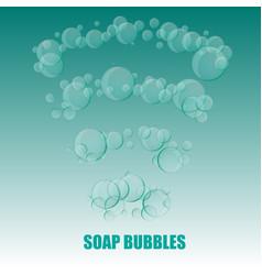 Transparent soap bubbles on marine green vector