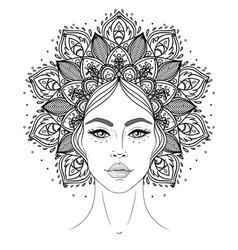 tribal fusion boho diva beautiful asian divine vector image