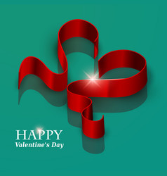 valentines day ribbon heart vector image