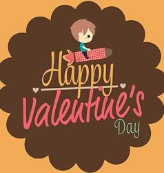 valentines love card boy ride rocket vector image