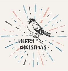 Vintage Christmas background with bullfinch vector