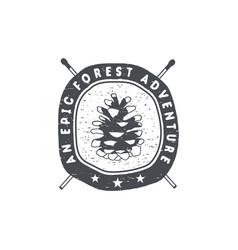 Vintage hand drawn forest adventure badge vector