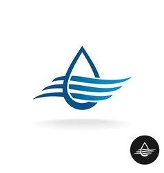 Water drop with waves elegant logo vector