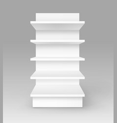 White empty trade stand shop rack storefront vector