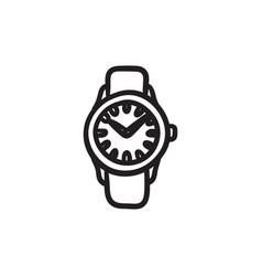 Wrist watch sketch icon vector