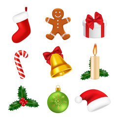 xmas decorations realistic 2019 new year 3d vector image