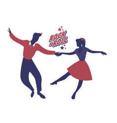 Young couple wearing 50s clothes dancing rock vector