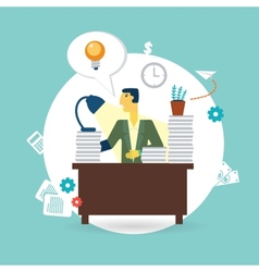 businessman working at his desk vector image