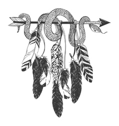 Dreamcatcher with arrow feathers and snake vector image
