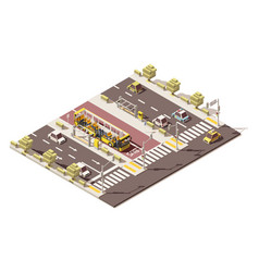 isometric low poly dedicated bus lane vector image