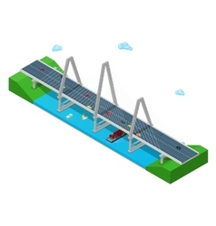 Isometric River Bridge with Ship Boat Highway vector image