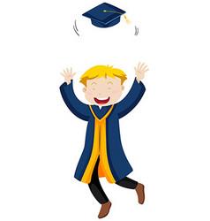 Man in blue graduation gown throwing cap vector image