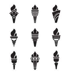 Set icons of torch vector image