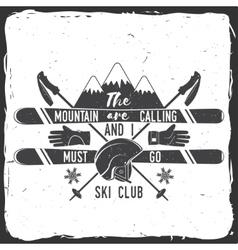 Ski club concept vector image vector image