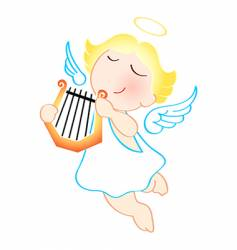 angel with harp vector image