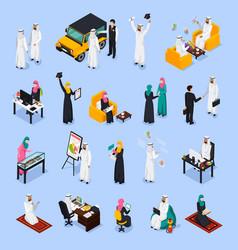 Arab people isometric set vector