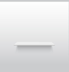 Empty white shelf on a gray wall vector image