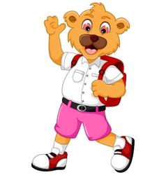 funny bear cartoon go to school vector image vector image