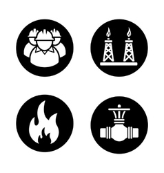 Gas industry black icons set vector image vector image