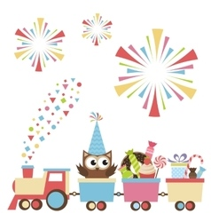 Birthday toy train with owl and sweets vector image vector image