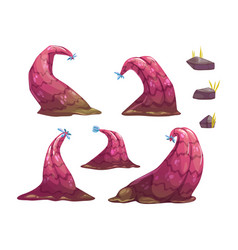 Cartoon fantasy alien monster plants and stones vector