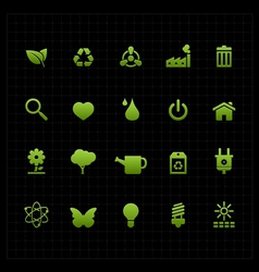 Green eco icon set icon black background vector image vector image