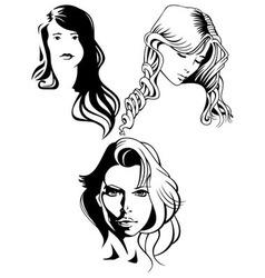 portraits of beautiful women vector image