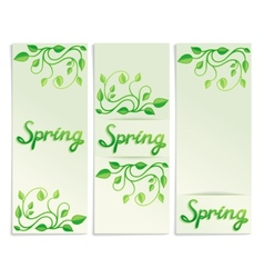 Three Spring green leaves banners vector image vector image