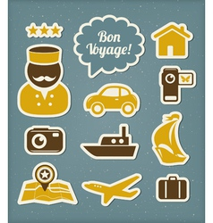 Travel and vacation icons set vector image vector image