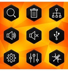 Settings Hexagonal icons set on abstract orange vector image vector image