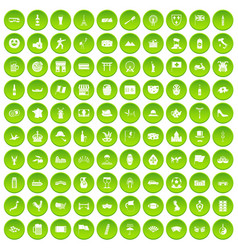 100 tourist attractions icons set green circle vector