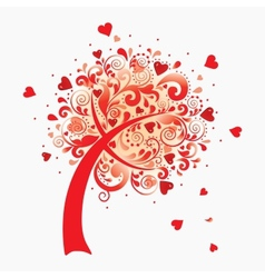 A love tree valentines postcard vector