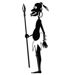 Aboriginal with spear BW vector