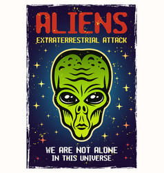 Alien green head colored poster with text vector