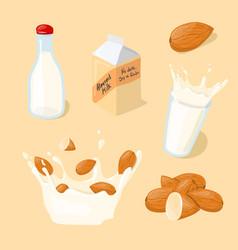 almond milk glass splash bottle pack icon set vector image