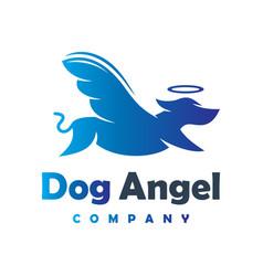Angel dog animal logo design your company vector