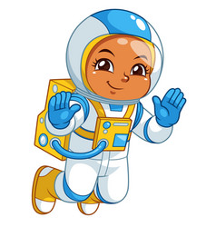 Astronaut girl floating in empty space vector