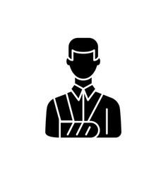 bandaged man black icon sign on isolated vector image