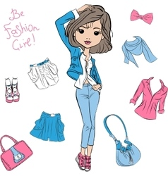 beautiful fashion girl top models vector image
