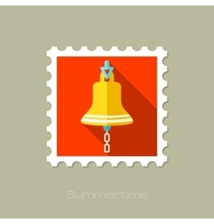 Bell marine flat stamp with long shadow vector image